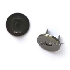 Замок магнитный для сумок 18 мм( плоский), цвет - черный никель.